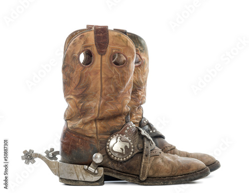 Side view of a pair of Cowboy boots with spurs , Buy this