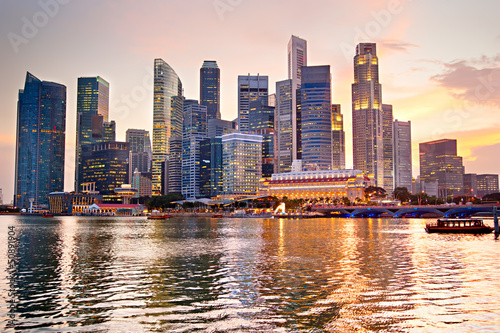 Spoed Foto op Canvas Singapore Singapore at sunset