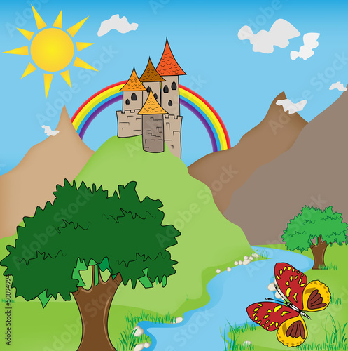 Poster Kasteel FairyTale castle illustration