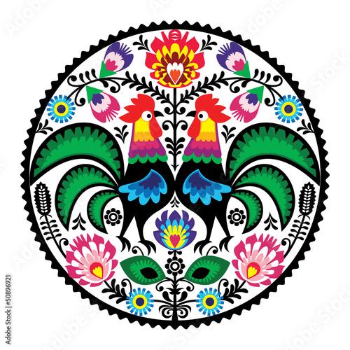 fototapeta na ścianę Polski haft z kwiatowym wzorem ludowej Koguty
