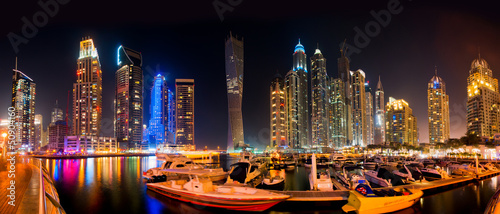 In de dag Dubai Dubai Skyline by night