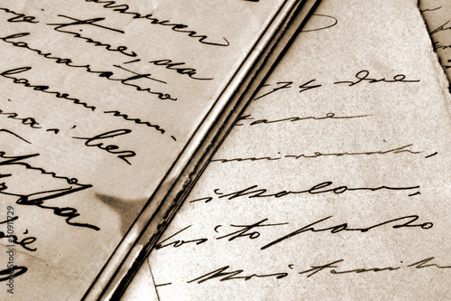vintage handwritten letters Wallpaper Mural