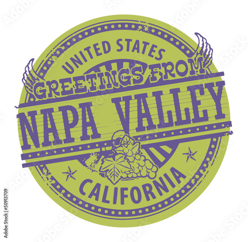 Grunge color stamp with text Greetings from Napa Valley, vector