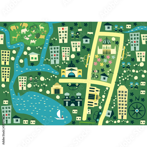 Spoed Foto op Canvas Op straat seamless cartoon map of australia