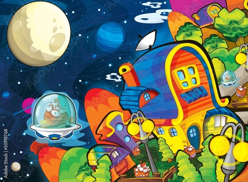 Spoed Foto op Canvas Kosmos The aliens theme - ufo - for kids