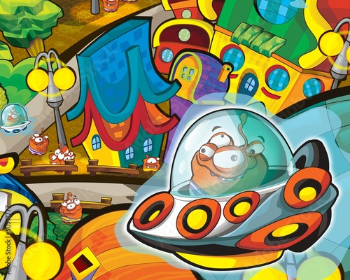 Poster Kosmos The aliens theme - ufo - for kids