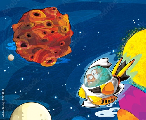 Garden Poster Cosmos The aliens - ufo - for kids