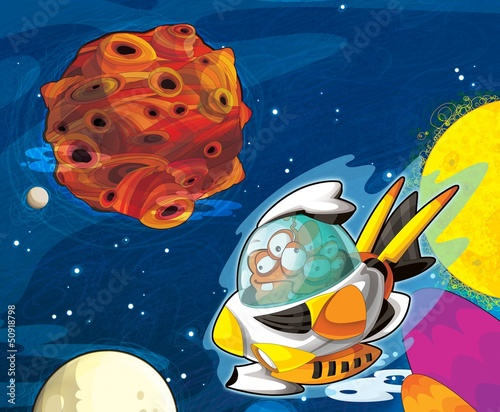 Poster Kosmos The aliens - ufo - for kids