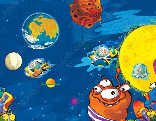 Spoed Foto op Canvas Kosmos The aliens - ufo - for kids