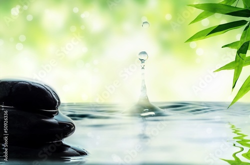 Pebbles, bamboo and drop of water. Canvas Print