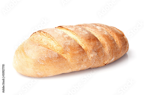 Cuadros en Lienzo single french loaf bread isolated on white background