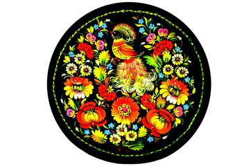 Сувенир - тарелка с  изображением цветов и  Жарптицы