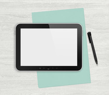 Blank Digital Tablet On A Whit...