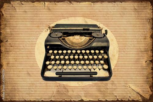 Spoed Foto op Canvas Vintage Poster Retroplakat - Machine zum Schreiben