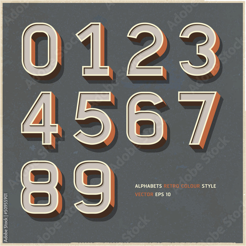 Fotografía  Alphabet numbers retro colour style. Vector illustration.