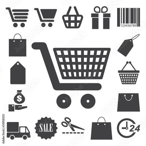 Photo  Shopping icons set. Illustration
