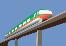 A Green And Orange Monorail Tr...