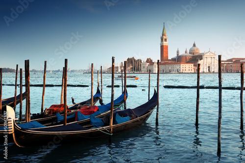 Poster Venise Gondolas on Grand Canal and San Giorgio Maggiore church in Venic