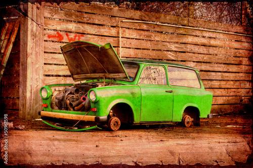 Foto op Plexiglas Vintage Poster Retroplakat - Trabant