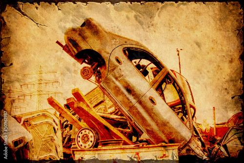 Foto op Plexiglas Vintage Poster Retroplakat - Schrottauto