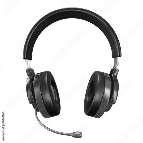 Fényképezés  Headphone on white background. Isolated 3D image