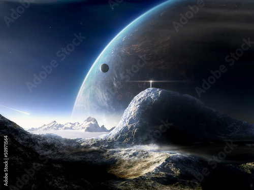 Fototapeta Space asteroid and the planet