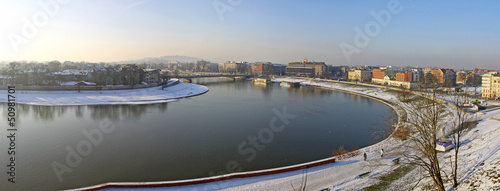 Panoramic view of Krakow city and Vistula river #50981701