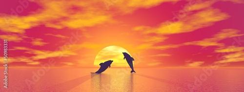 Staande foto Dolfijnen Dolphins by sunset - 3D render