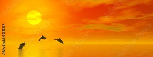 Poster Dolfijnen Dolphins by sunset - 3D render