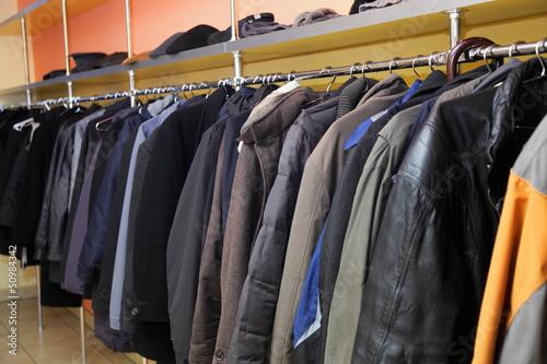 Cuadros en Lienzo Many clothes in cloakroom
