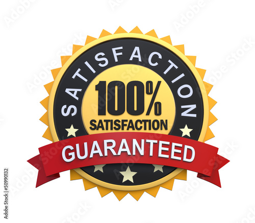 Satisfaction Guaranteed Label with Gold Badge Sign Fototapete