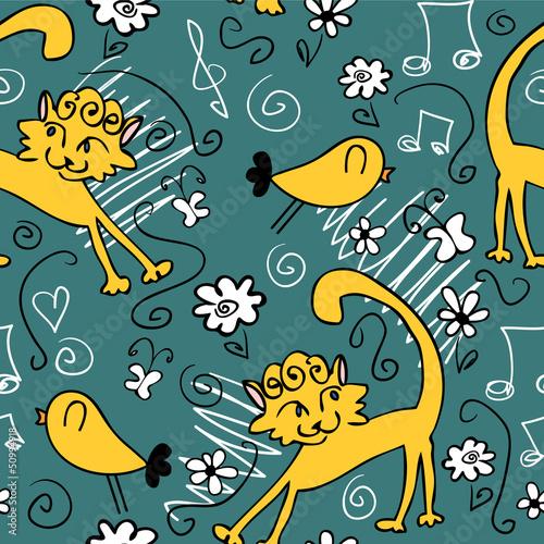 bezszwowy-wzor-z-slicznymi-rysunkami-kotow-i-ptakow