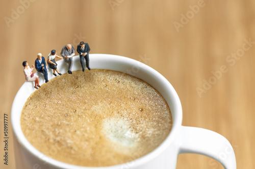 Fotografie, Obraz  Miniature business team having a coffee break