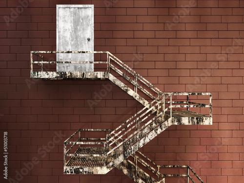 Fototapeta 3d Illustration of Old External Fire Escape in a Building