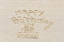 Happy Birthday With Cake Writt...