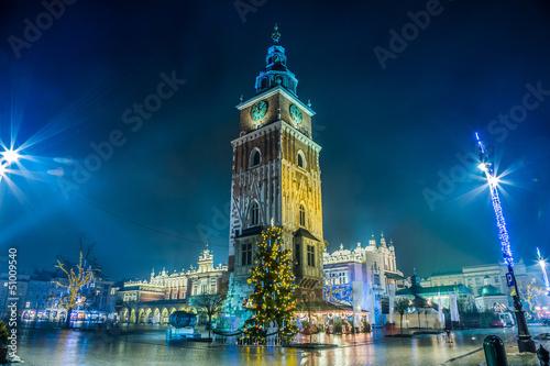 Poland, Krakow. Market Square at night. © Sergii Figurnyi
