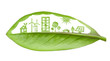 canvas print picture - Green futuristic city living concept. Life with green houses, so