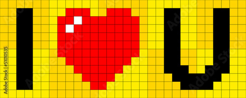 Photo sur Aluminium Pixel Pixel I heart U