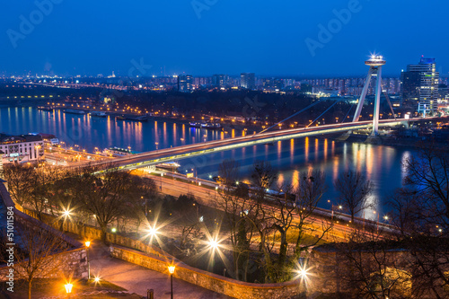 New Futuristic Bridge in Bratislava at Twilight Canvas Print