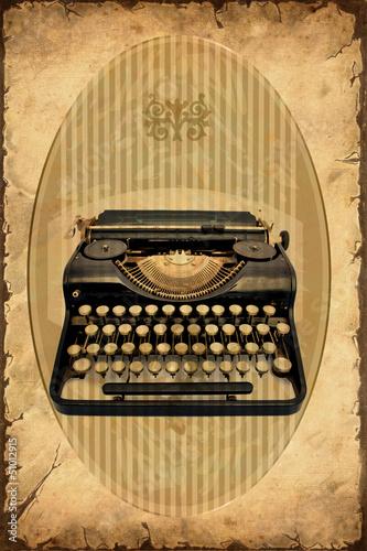 Foto op Plexiglas Vintage Poster Retroplakat - Maschine zum Schreiben