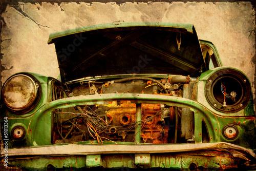 Foto op Plexiglas Vintage Poster Retroplakat - Altes Schrottauto