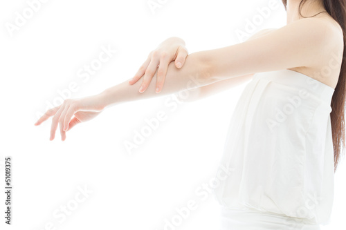 Fotografía  Beautiful young woman hands on white background