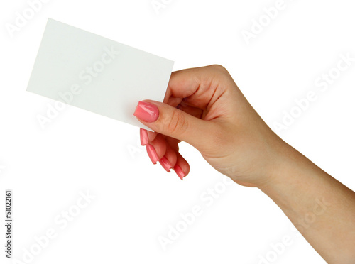 Female hand holding business card isolated on white buy this female hand holding business card isolated on white colourmoves