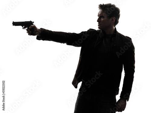man killer policeman aiming  gun silhouette Wallpaper Mural