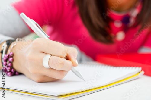 Fotografie, Obraz  Closeup Of Girl Hand Writing