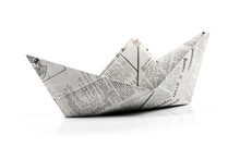 Origami Paper Ship Isolated On...