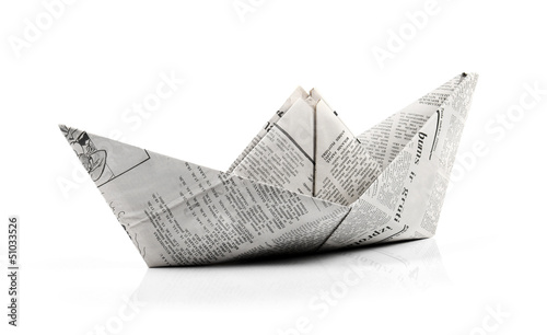 Obraz na plátně  origami paper ship isolated on white