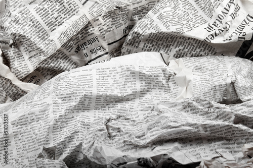 Photo sur Toile Journaux background of old crumpled newspapers