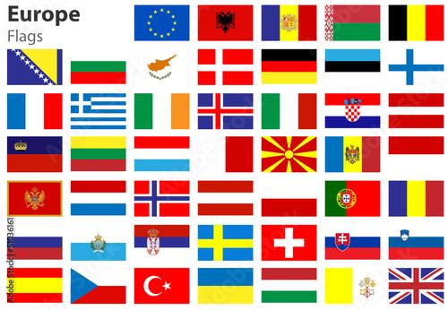 europe flags europa fahnen flaggenset stockvektorgrafik