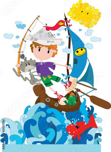 Cadres-photo bureau Chats Little sailor